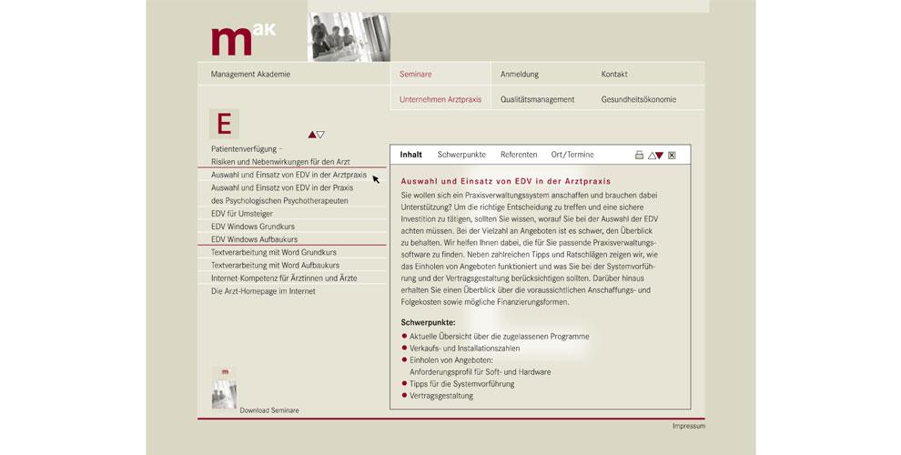 Roener Design, Management Akademie baden-württembergischer Ärzte e.V.